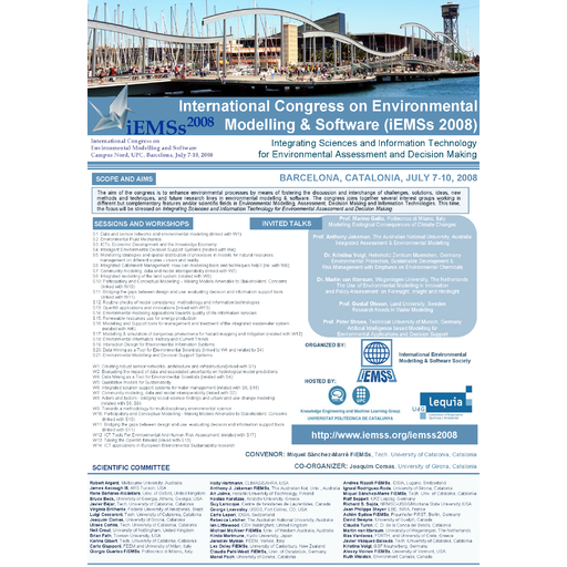 International Congress on Environmental Modelling & Software (IEMSS 2008)